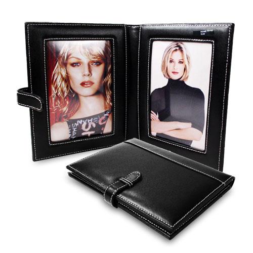 black leather double folding photo frame