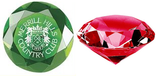 Green and Red Crystal Paperweights