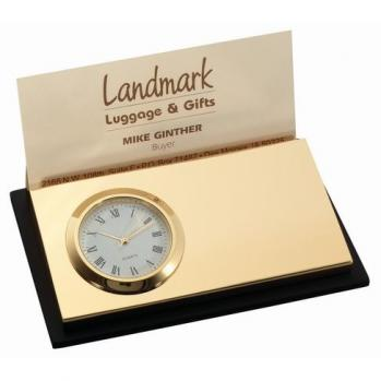 Duo Gold Business Card Holder and Clock