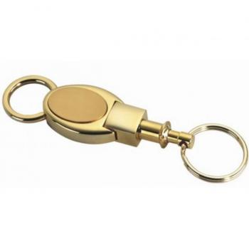 Gold Oval Brushed Detachable Key Chain