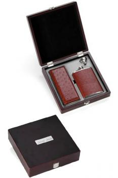 Leather Cigar Case and Flask Set