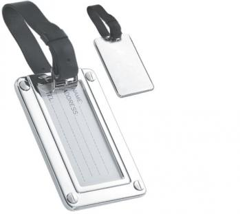 Luxury Silver Luggage Tag with Leather Strap