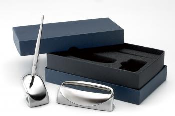 Metal Business Card Holder and Pen Stand