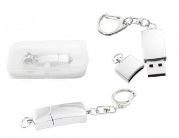 Polished Silver Metal USB Flash Drive and Keychain