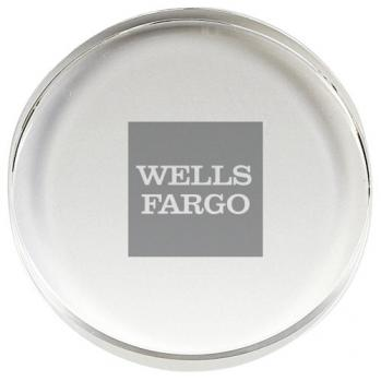 Round Classic Corporate Crystal Paperweight