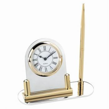 Round Classic Pen Stand with Clock