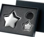Silver Star Desk Top Card Holder Star Frame Key Ring