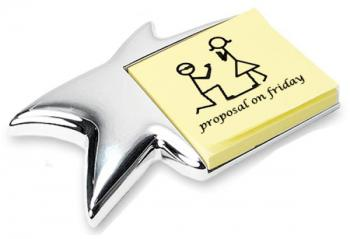 Silver Star Shaped Post It Note Holder