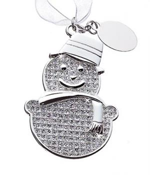 Covered Crystal Nickel plated Snowman Ornament