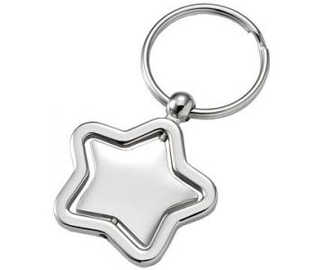 Swiveling Silver Star Key Ring