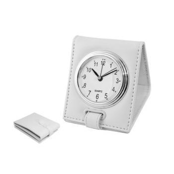 White Faux Leather Travel Alarm Travel Clock